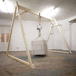 Christopher Charles, I Hardly Recognise Your Voice, (2nd Version) 2011/2013. Concrete, rope, steel, telephone books, timber, installation view, dimensions variable