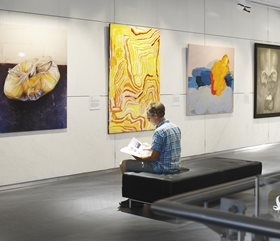 2013 Bankwest Art Prize exhibition, Bankwest Art Gallery, featuring works by (from left to right) Christopher Young, Elizabeth Nyumi, Penny Bovell, Thea Costantino