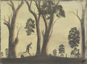 The Take Off?, Anonymous, c1949. Pastel on paper, 280 x 385mm. The Herbert Mayer Collection of Carrolup Artwork, Curtin University Art Collection