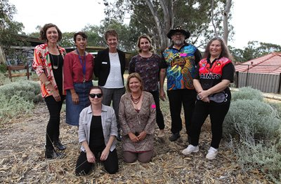 Artist, staff, students and volunteers in the ArtsHouse Community Garden, ArtsHouse AiR program, 2018. Photographer: Perdita Phillips Details: Back Row: ArtsHouse Assistant Project Manager Shonie McKibbin, Art Teacher Dee George, Principal Dr Karen Read, ArtsHouse Co-ordinator Marie Molloy, Mort and Vivienne Hansen. Front Row: ArtsHouse Garden Volunteer Nonie Jekabsons and Artist in Residence Sharyn Egan