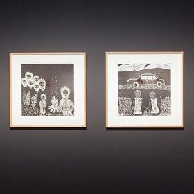 Laurel Nannup, (left) As grandad was speaking out of the darkness came about six men…, 2001. Woodcut on BFK paper, 57.5 x 57.5 cm. (right) …crying our eyes out, 2001. Woodcut on BFK paper, 57.5 x 57.5 cm. Image courtesy of John Curtin Gallery.