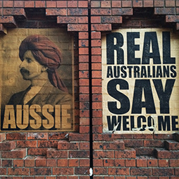 Peter Drew, Aussie and Real Australian Say Welcome, Spencer Street Melbourne, 2016.