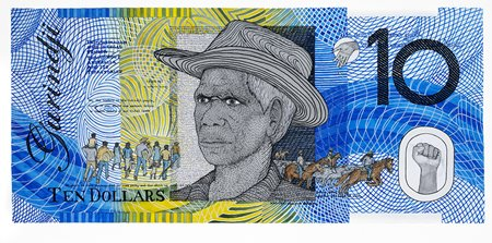 Ryan Presley, 10 Dollar Note – Vincent Lingiari Commemorative, Blood Money, 2011. Watercolour on arches paper, (96 x 45 cm), documented by Carl Warner. Courtesy of the artist. Licensed by Viscopy 2017.