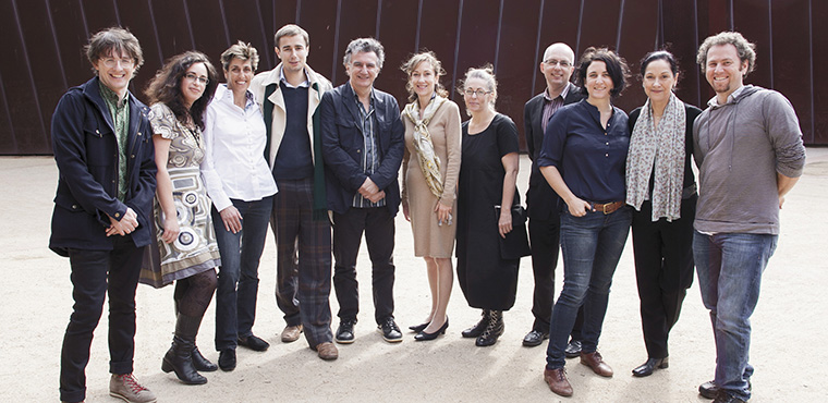 Marco Marcon with the 2012 Sidney Myer Creative Fellows and members of the Myer family. L-R: Matthew Whittet, Maria Tumarkin, Lindy Shelmerdine, Patrick Myer, Marco, Sally Lindsay, Danielle Wilde, Paul Stanhope, Sophie Hyde, Kate Shelmerdine, Chris Kohn