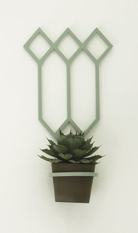 Jessie Mitchell, Bourke, 2012. Powdercoated aluminium, ceramic, plant, dimensions variable. Image courtesy of the artist