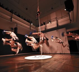 Tarryn Gill + Pilar Mata Dupont, Ever Higher, 2011 (performance still). Image: Paula Carpio, courtesy the artists and PICA