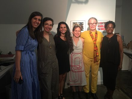 Laura Mitchell with A.I.R. Gallery Staff & Artists in the office on Opening Night