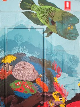 Detail of a painted mural on shopfront, Exmouth, 2013. Artist unknown.