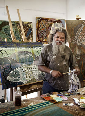 Toogarr Morrison in his studio at Artsource Fremantle. Photo: Eva Fernandez