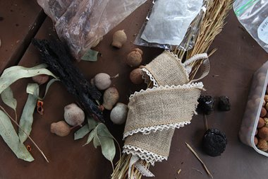 IMAGE: Edible and medicinal materials from Mort and Vivviene Hansen workshop, ArtsHouse Community Garden and AiR, 2018. Photographer: Perdita Phillips