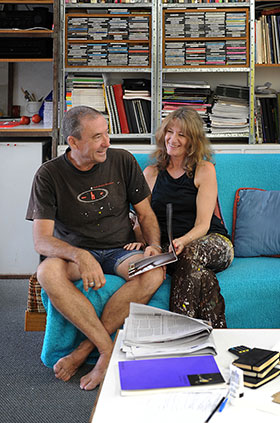 Jeremy Kirwan-Ward & Helen Smith in studio 2013. Photo: Christopher Canato