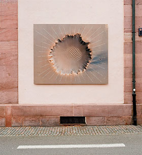 Jochen Kitzbihler, Dort 2012, Victoria-Crater, Mars. Installed in Seléstat, France.  Digital print with water-resistant finish. Image Florian Tiedje, Atelier Neuf