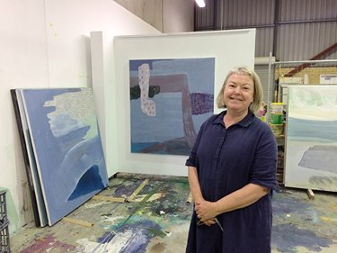 Penny Bovell in her artist studio, 2016. Photographer: Sue-Lyn Moyle