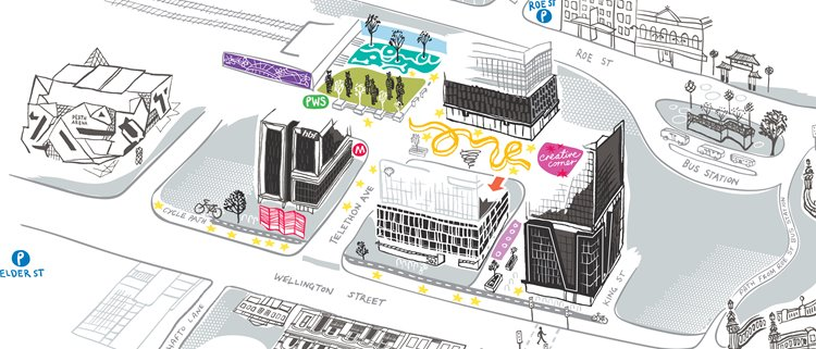 Connect Kings Square public art map by Jane Coffey, Future Shelter