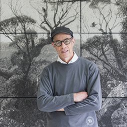 Nigel Hewitt Artist in front of his Untitled work at Artsource Ashfield Open Studios, 2016. Photographer: Christophe Canato.