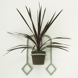 Jessie Mitchell, Harley, 2012. Powdercoated aluminium, ceramic, plant, dimensions variable. Image courtesy of the artist