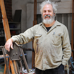 Artsource member and Lifetime Achievement Award Winner Stuart Elliott, in his Parkerville studio, 2013. Image: Christophe Canato.