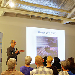 Nigel Hewitt speaking at Winner artist talks, 2015. Photographer: Sue-Lyn Moyle
