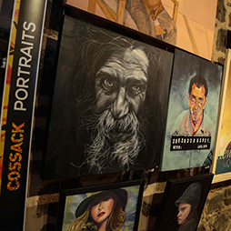 View of Portrait Category, including far left Wise Eyes by Katherine Brown, Winner, People's Choice Award, 2015 Cossack Art Awards. Image: Pilbara Site Pics