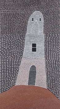 Clifton Mack, Jarman Island (Lighthouse Series), 2012. Synthetic polymer paint on canvas, 122.5 x 68cm. State Art Collection, Art Gallery of Western Australia. Gift of Rio Tinto, 2013.