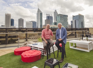 Rooftop at AGWA: AGWA Director, Dr Stefano Carboni and AGWA Board Chair, Nicholas Hasluck AM, QC.