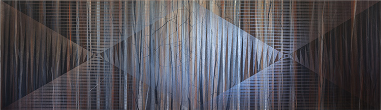 Monique Tippett, Autumn Burn, 2015. Silky Oak, inks and lacquer on board, 120 x 330cm. Image courtesy of the artist.