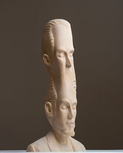 and in the endless sounds there came a pause, 2014, laminated hand carved wood, 63x61x61cm, by Paul Kaptein.