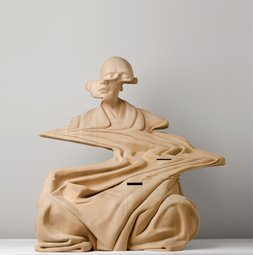 Bankwest Art Prize finalist.  Paul Kaptein, and in the endless sounds there came a pause, 2014. Laminated hand carved wood, 63x61x61cm.