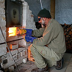 Stewart Scambler firing up his kiln near York. Image: Trish Scambler