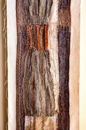 Detail from Dingo flat road, 2009. Mud, minerals and natural dyes on cotton, 5m x 70cm. Image: Trudi Pollard