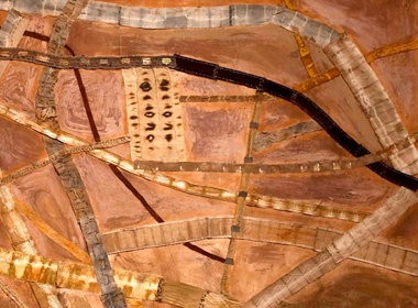Trudi Pollard, Mapping Roads Pilbara, 2009. Cotton, leather, found bits and thread, 5m x 70cm. Image: Trudi Pollard