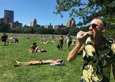 Andrew Nicholls in Central Park. Photographer: the artist.