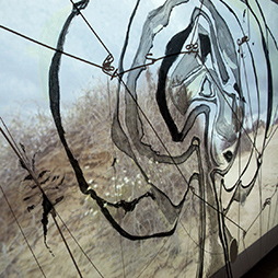 Jonathan Kimberley, Not My Garden (Map of Unlandscape), 20017. Charcoal, acrylic, ink on linen, 180x180cm (four panels). Image courtesy of the artist