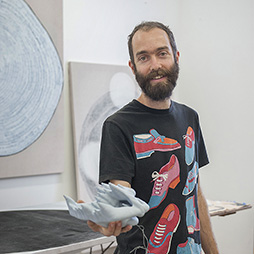 Artist Tom Freeman in his Artsource Fremantle Studio 2015. Photographer: Christopher Canato