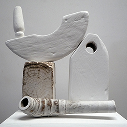 Theo Koning, still life with pipe detail, gesso & olive sap on wood, 146x33x23cm, 2012